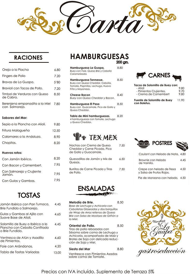 Espa ol menu pinterest espa ol restaurante y bar for Bar food la menu