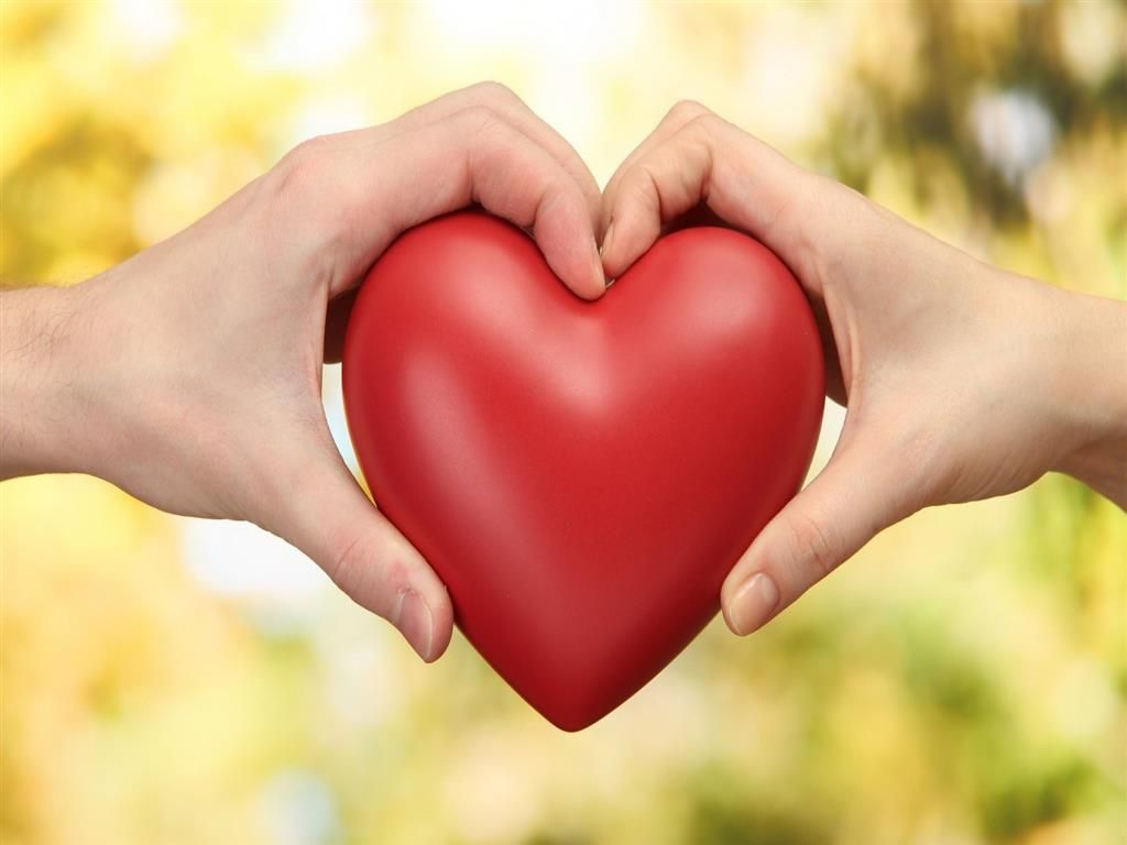 Care Red Heart Holding With Boy And Girl Valentine Days Beautiful Hd