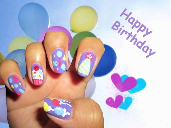 50 Stylish Hy Birthday Nail Art Ideas Design Ideaz