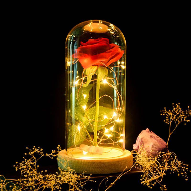 Enchanted Rose Flower Lamp Flower Lamp Rose In A Glass Rose Lights