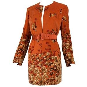 Preowned 1970's Valentino Burnt Orange Chestnut/walnut Print Velvet Belted Jacket