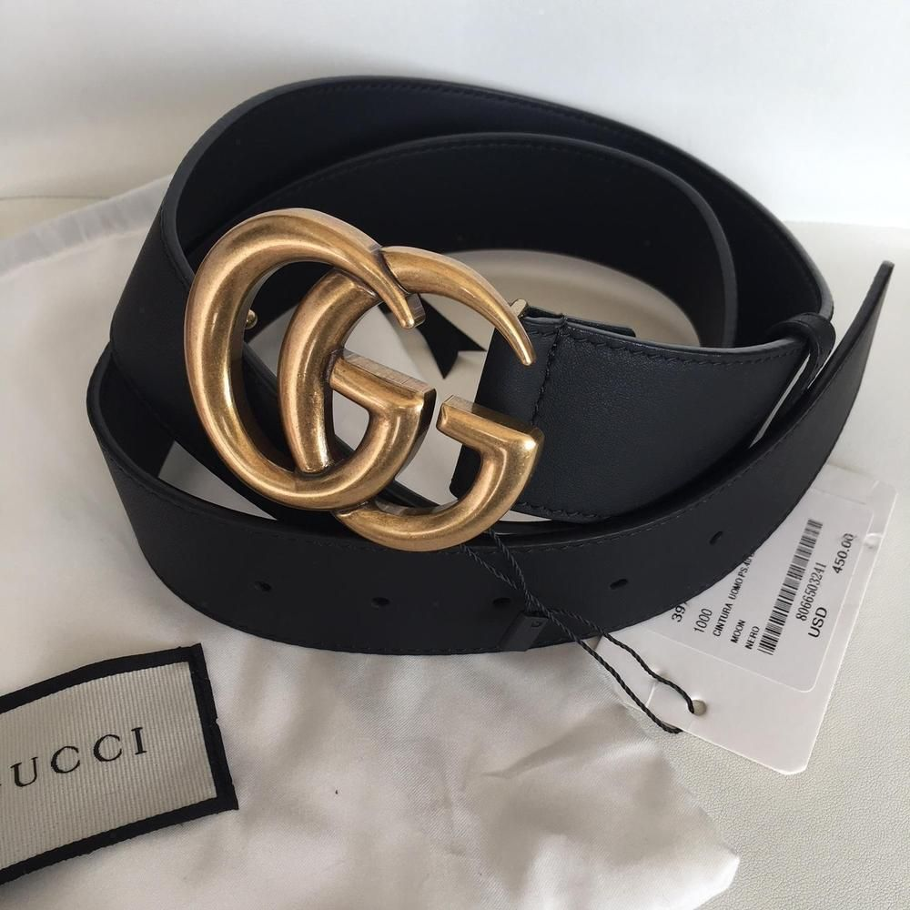 6442a3986a1 Original Marmont Gucci Belt 4cm Black Leather GG Gold Buckle Size 90 36   fashion  clothing  shoes  accessories  mensaccessories  belts (ebay link)
