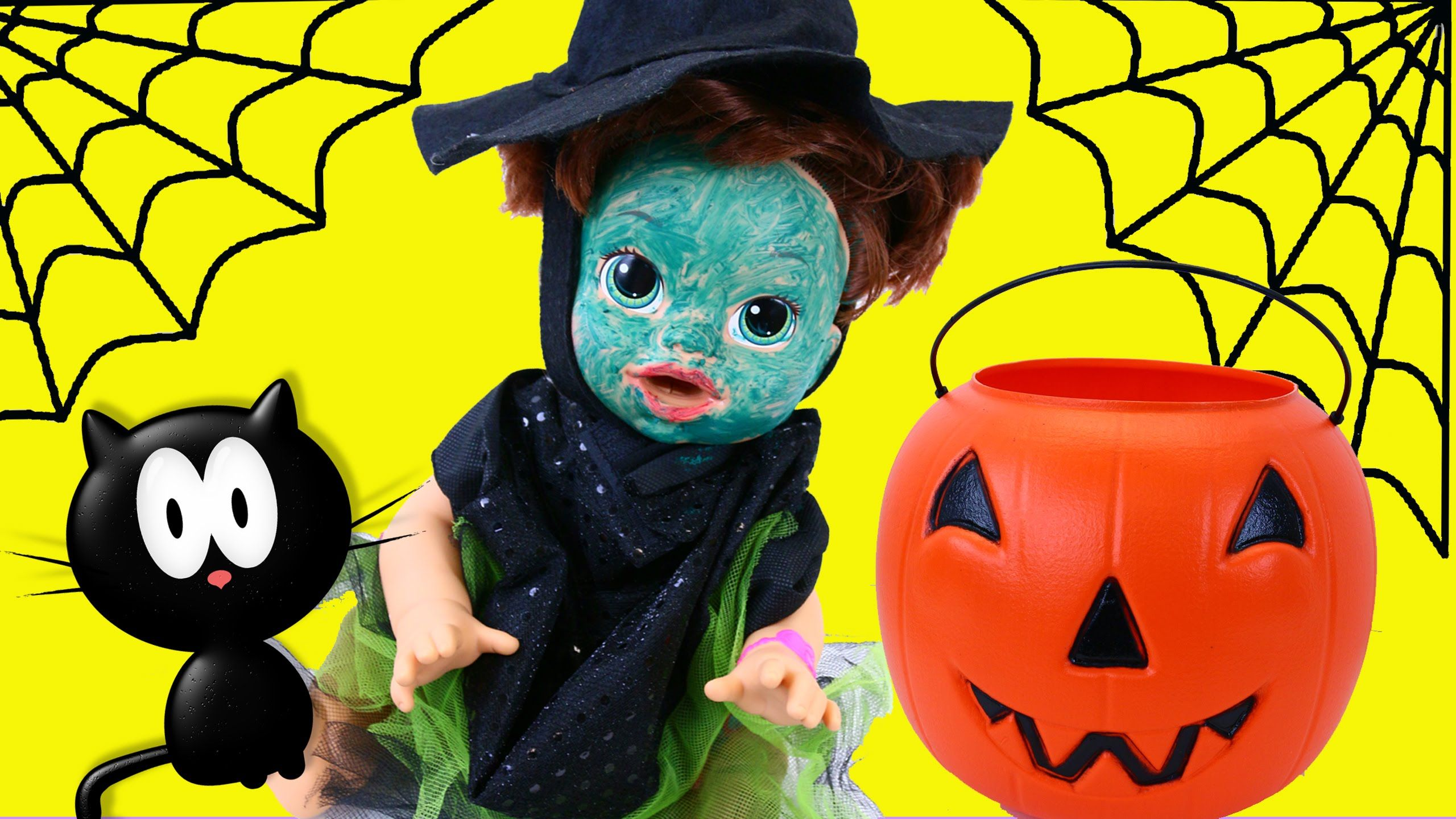 baby alive gets witch halloween costume + surprise toys trick or