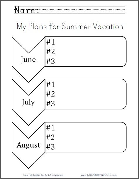My Plans For Summer Vacation Free Printable Graphic Organizer Worksheet Pdf File Summer Vacation How To Plan Graphic Organizers