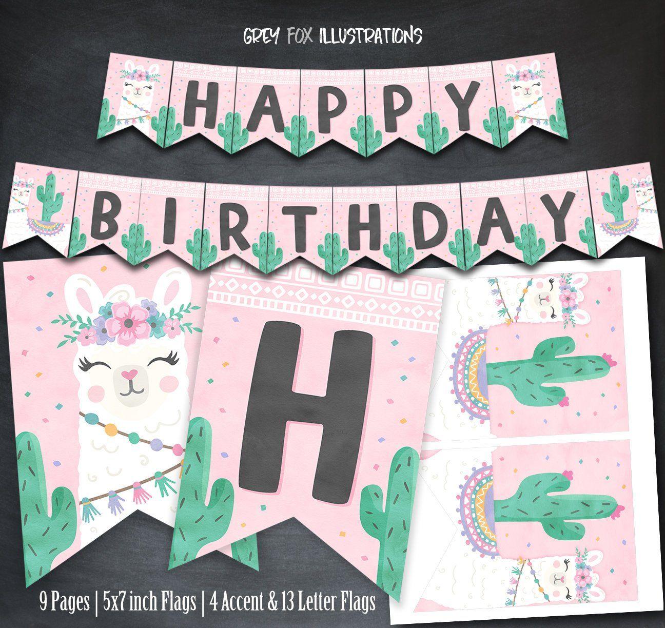 Llama Personalised Birthday Bunting Party Banner
