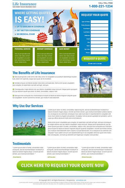 Life Insurance Landing Page For Sale On Www Semanticlp Com