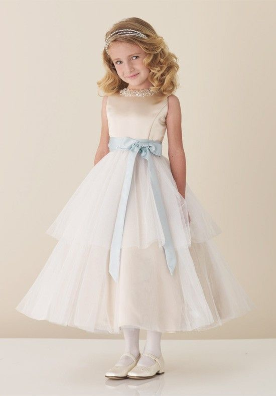 Cheapest Vintage White Scoop A-line Tie Waist Bowknot Beading Tiered Satin Tulle Flower Girl Dress Online