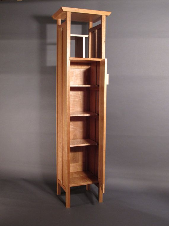 Tall Narrow Armoire Cabinet In Cherry Handmade Custom Wood Furniture Entry Cabin Custom Wood Furniture Bathroom Furniture Storage Bathroom Furniture Modern