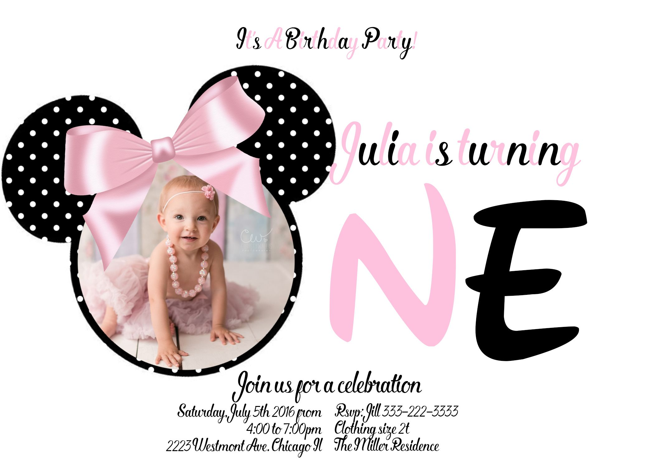 Minnie mouse first birthday invitation minnie mouse party diy minnie mouse first birthday invitation filmwisefo