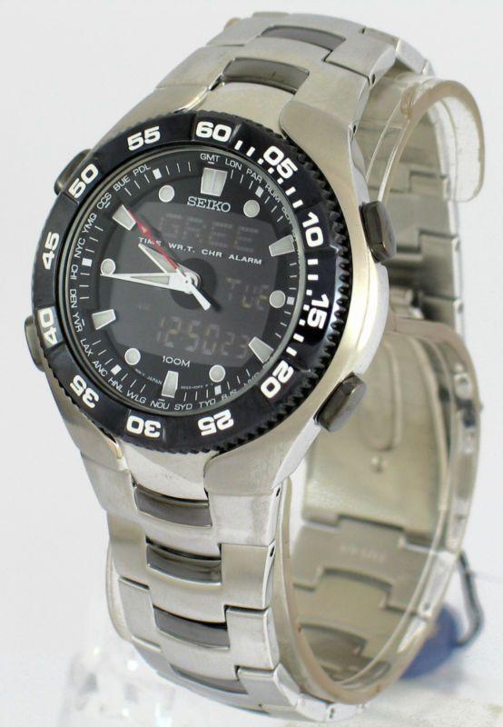 Seiko Ana-digital Cronógrafo Worldtime Negro Bisel Reloj snj015 snj015p1