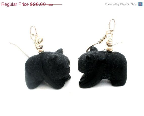 BIG SALE Black Onyx Bear Earrings Dangle by TheJewelryLadysStore, $22.40