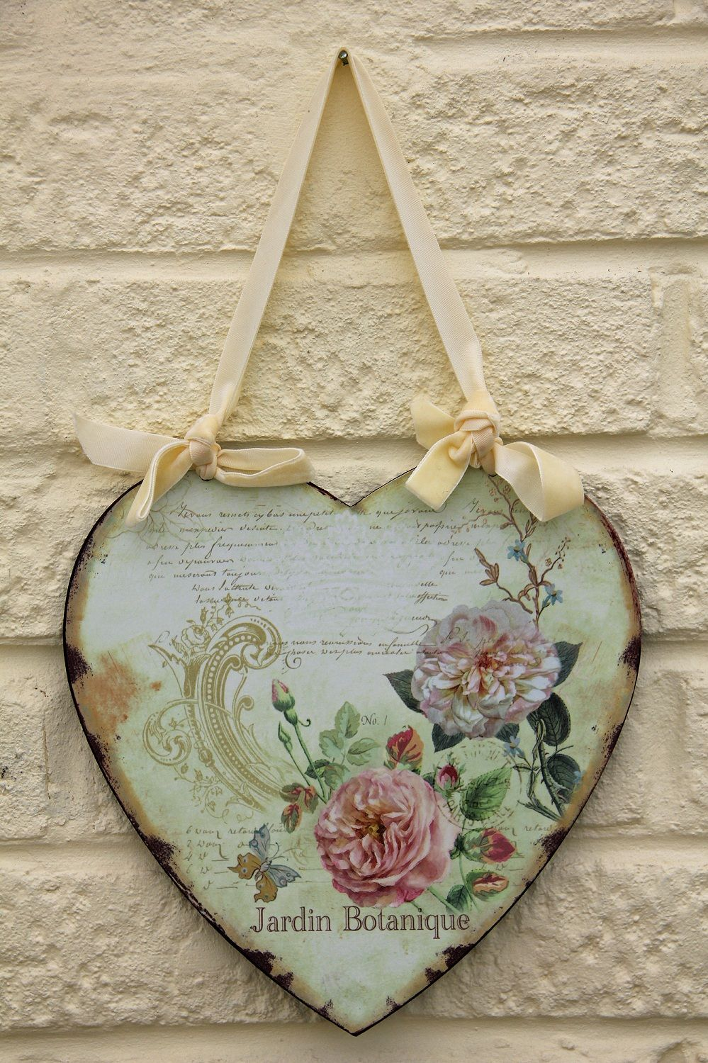 French shabby chic metal heart jardin botanique - Manualidades shabby chic ...