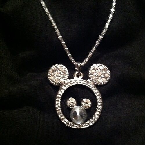 "rare design "" MICKEY MOUSE "" stunning Austrian Crystal Rhinestones Pendant w/ 16.5 snake chain necklace"