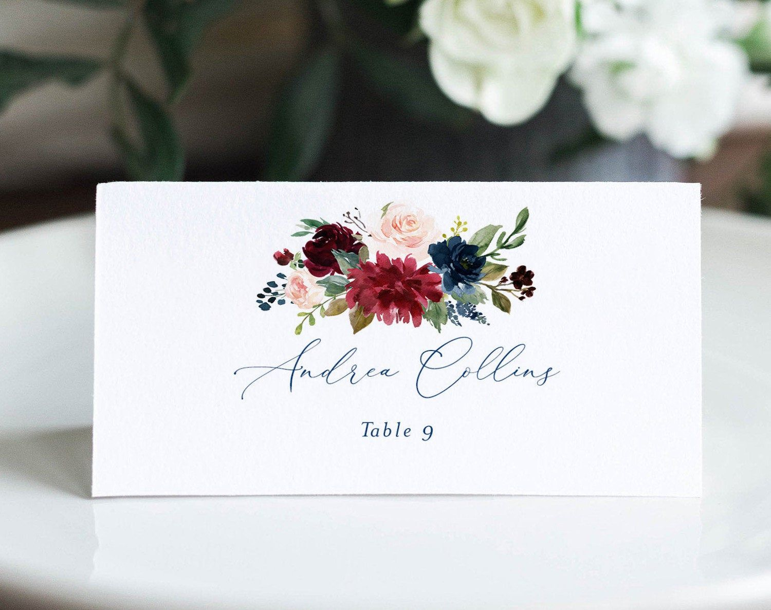 Wedding Place Card Printable Floral Place Card Template Meal Etsy Wedding Place Cards Place Card Template Wedding Places