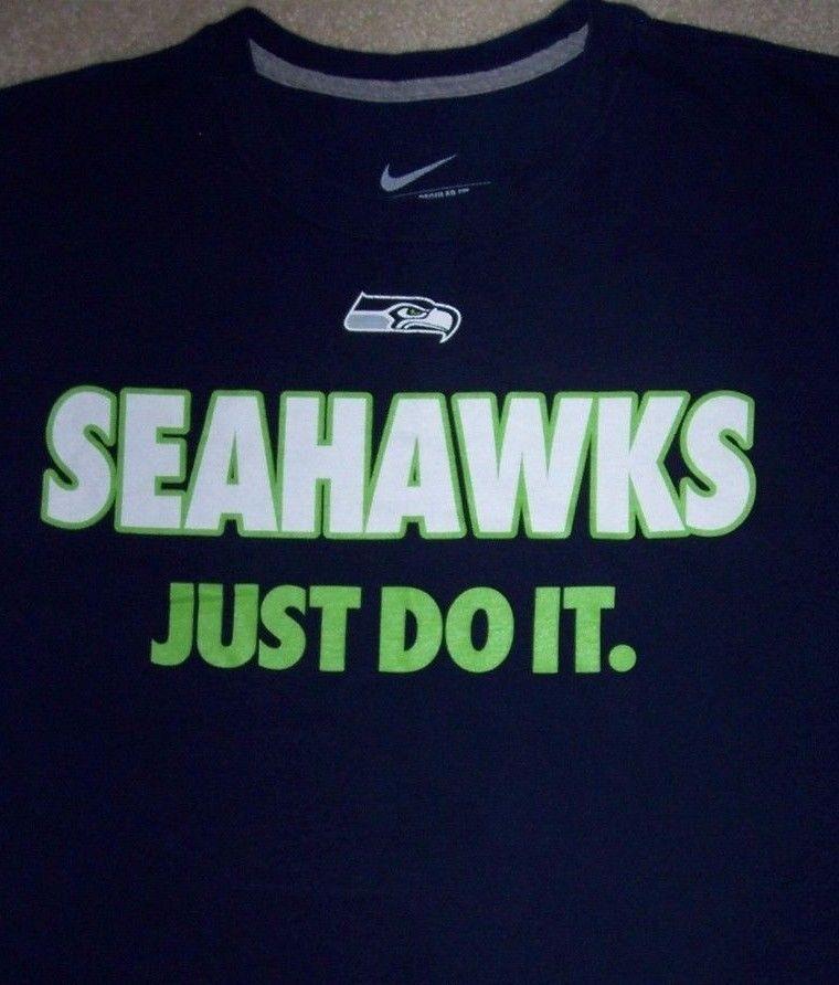 Seattle SEAHAWKS NFL Football Shirt Just Do It NIKE Adult Large Blue NFC WA #Nike #SeattleSeahawks