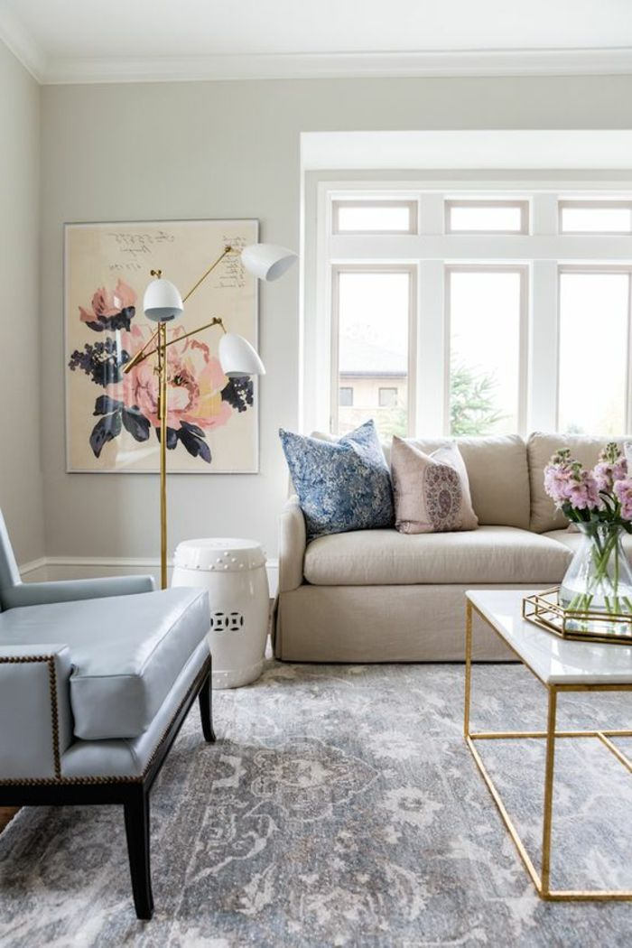1001 Idees Deco Originales Pour Le Salon Rose Et Gris