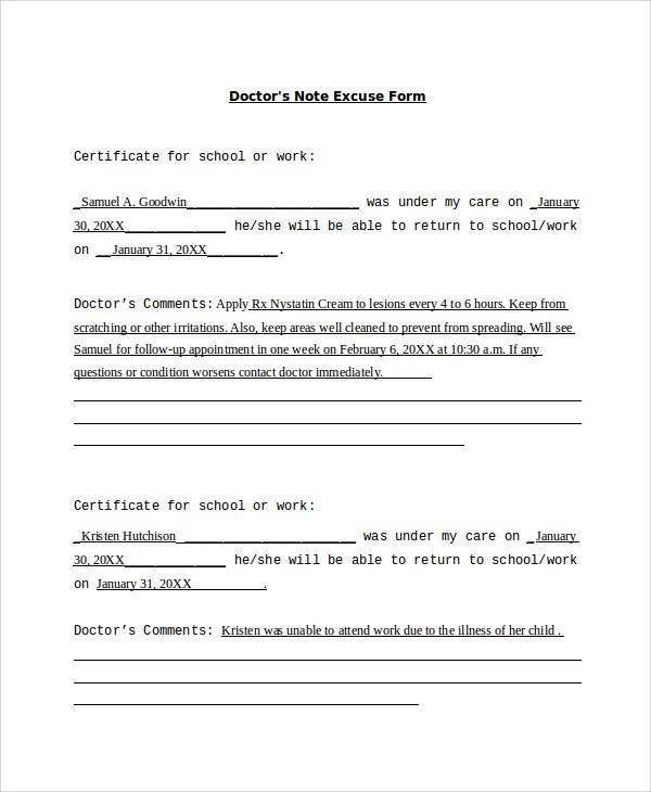Doctor Work Excuse Letter Sample