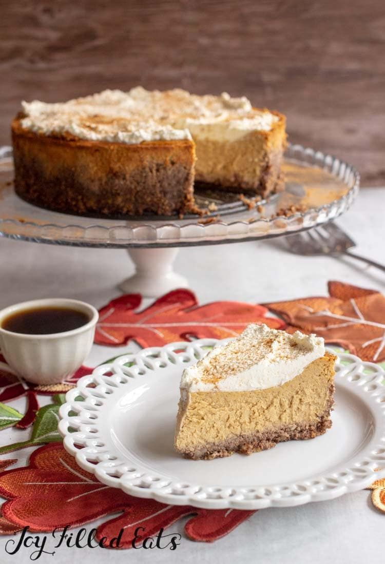 Easy Pumpkin Cheesecake - Low Carb, Keto, Gluten-Free, Grain-Free, THM S - This easy pumpkin cheesecake recipe comes together in minutes in your food processor or blender. Less than 10 ingredients to a delicious fall dessert.