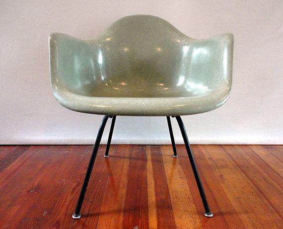 Knoll Eames Chair original vintage early seafoam herman miller fiberglass armshell