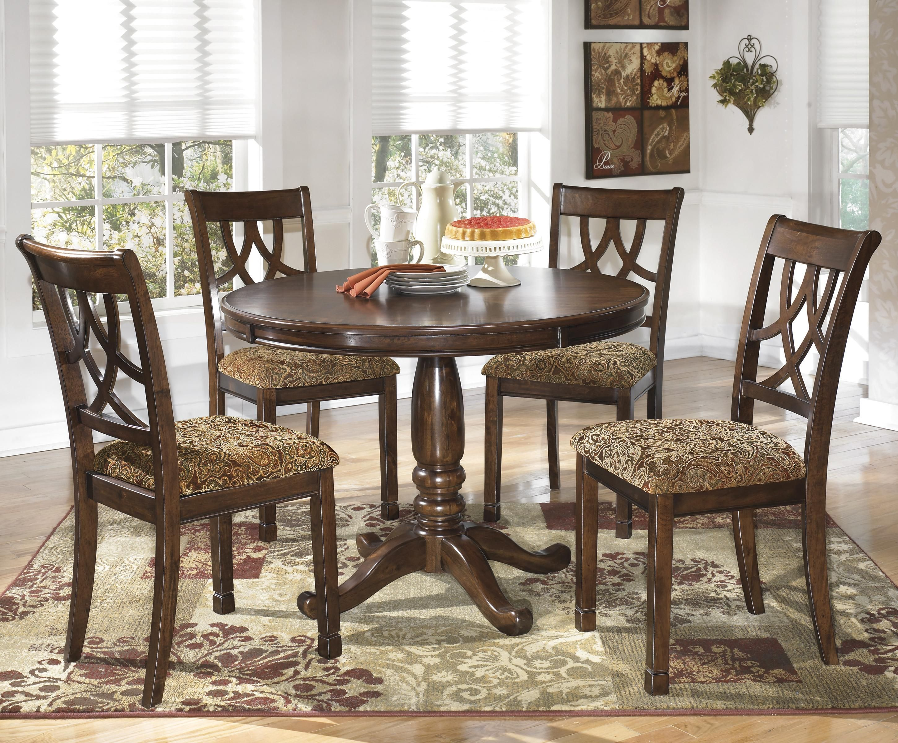 Ashley Furniture Kitchen Table And Chairs Leahlyn 5 Piece Cherry Finish Round Dining Table Set By Signature