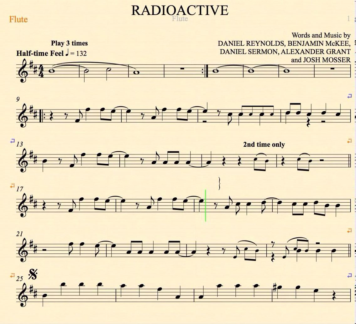 Radioactive flute music flute pinterest violin music radioactive imagine dragons flute sheet music chords and vocals hexwebz Gallery