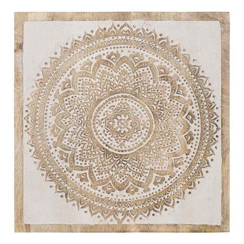 Ethnik Carving Wanddeko Mandala Aus Gebleichtem Mangoholz 55x55 Kutsal Geometri Dekorasyon Geometri