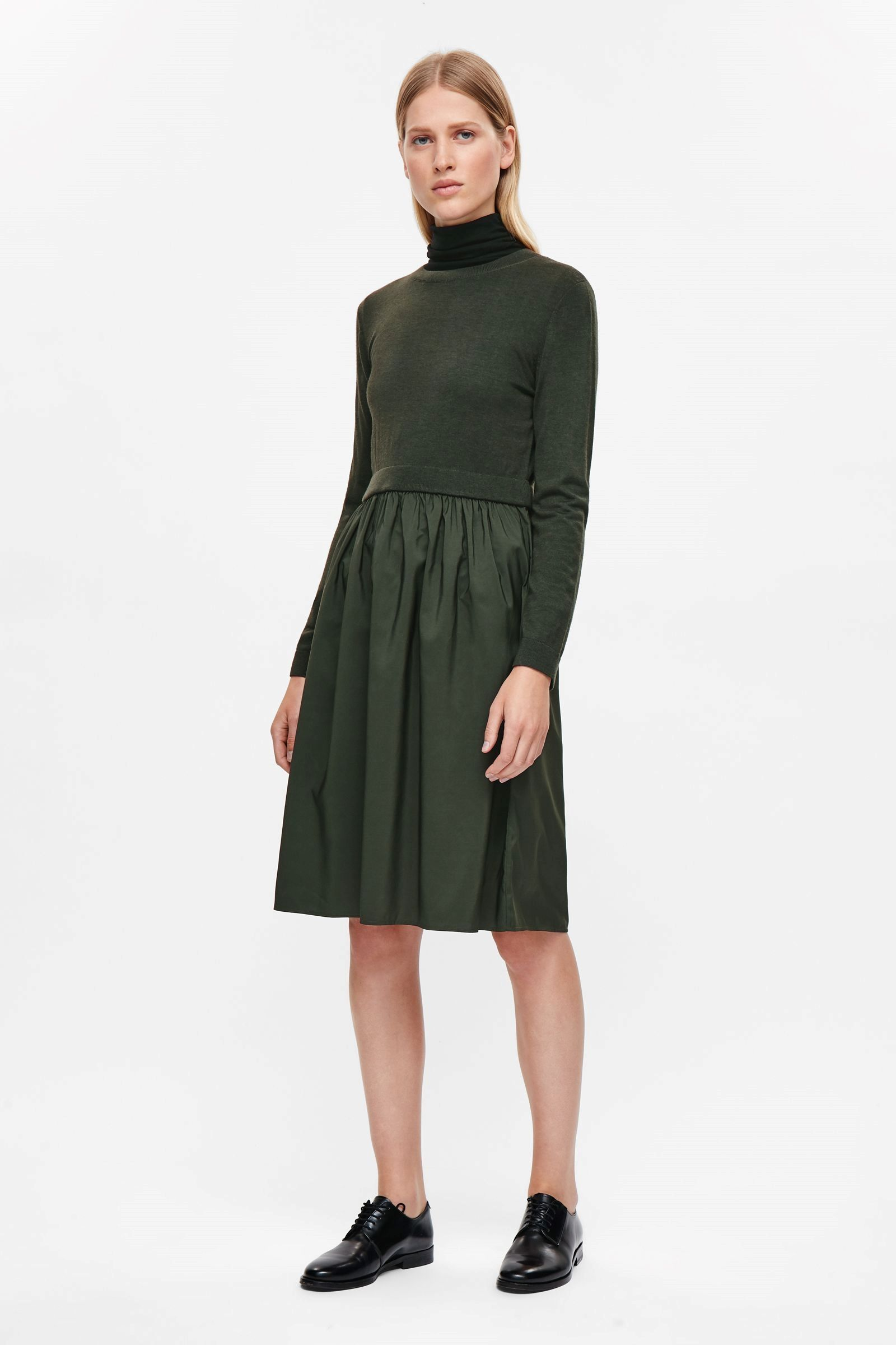 55be3768e COS image 1 of Rib and ruched dress in Forest Green | closet ...