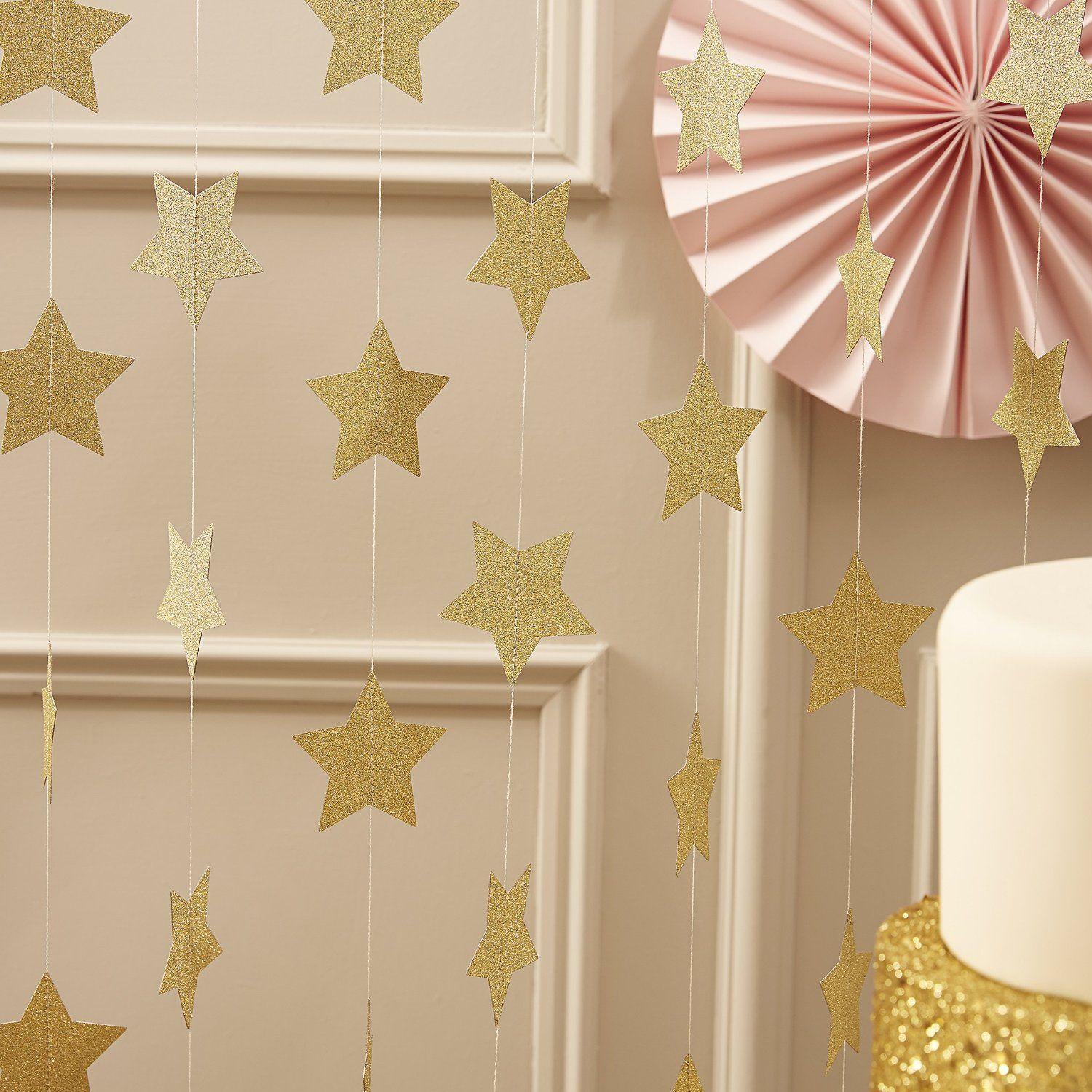 Decorative Stars For Parties Amazoncom Ginger Ray Pastel Perfection Sparkling Star Garland