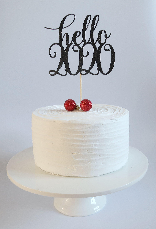 Hello Cake Topper New Years Eve Decor Happy New