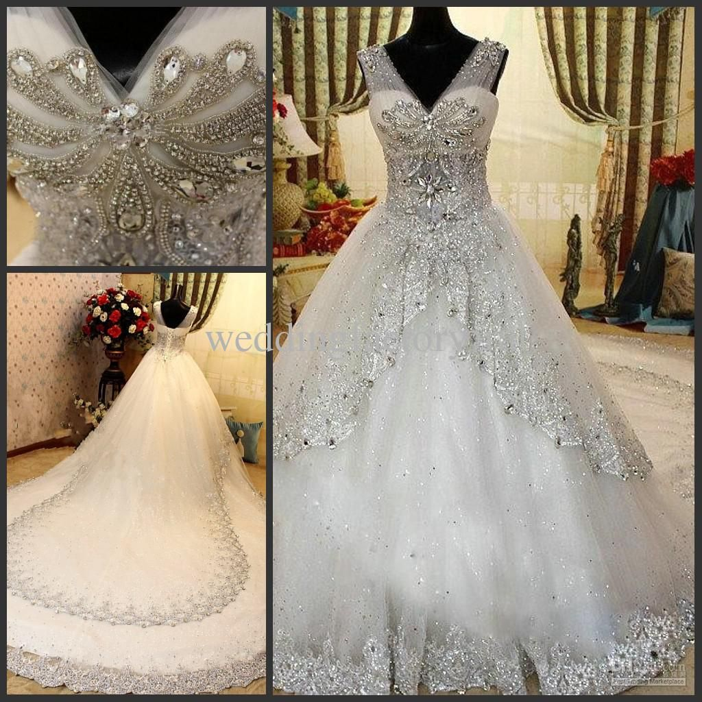 2013 Luxury Rhinestone Wedding Dresses Bling Bling Beaded Crystal V-neck  Sheer Straps Sweep White Lace Bridal Gown Dresses c4980173eb4d