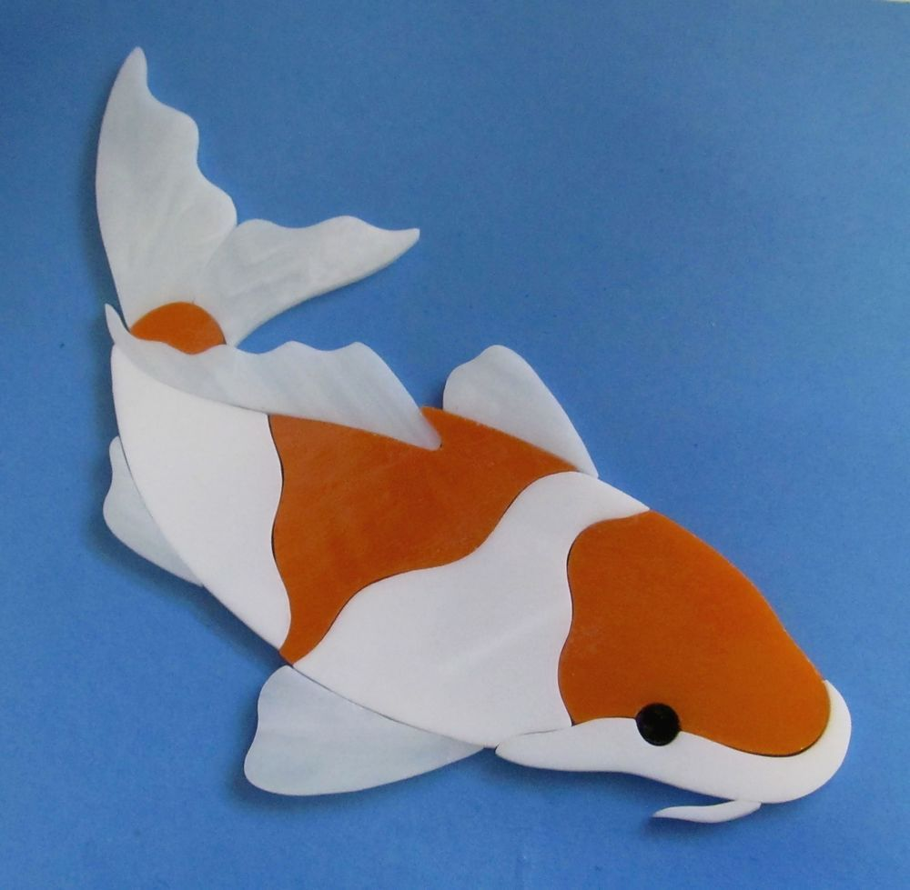Koi fish precut stained glass art kit mosaic inlay pond for Koi pool table