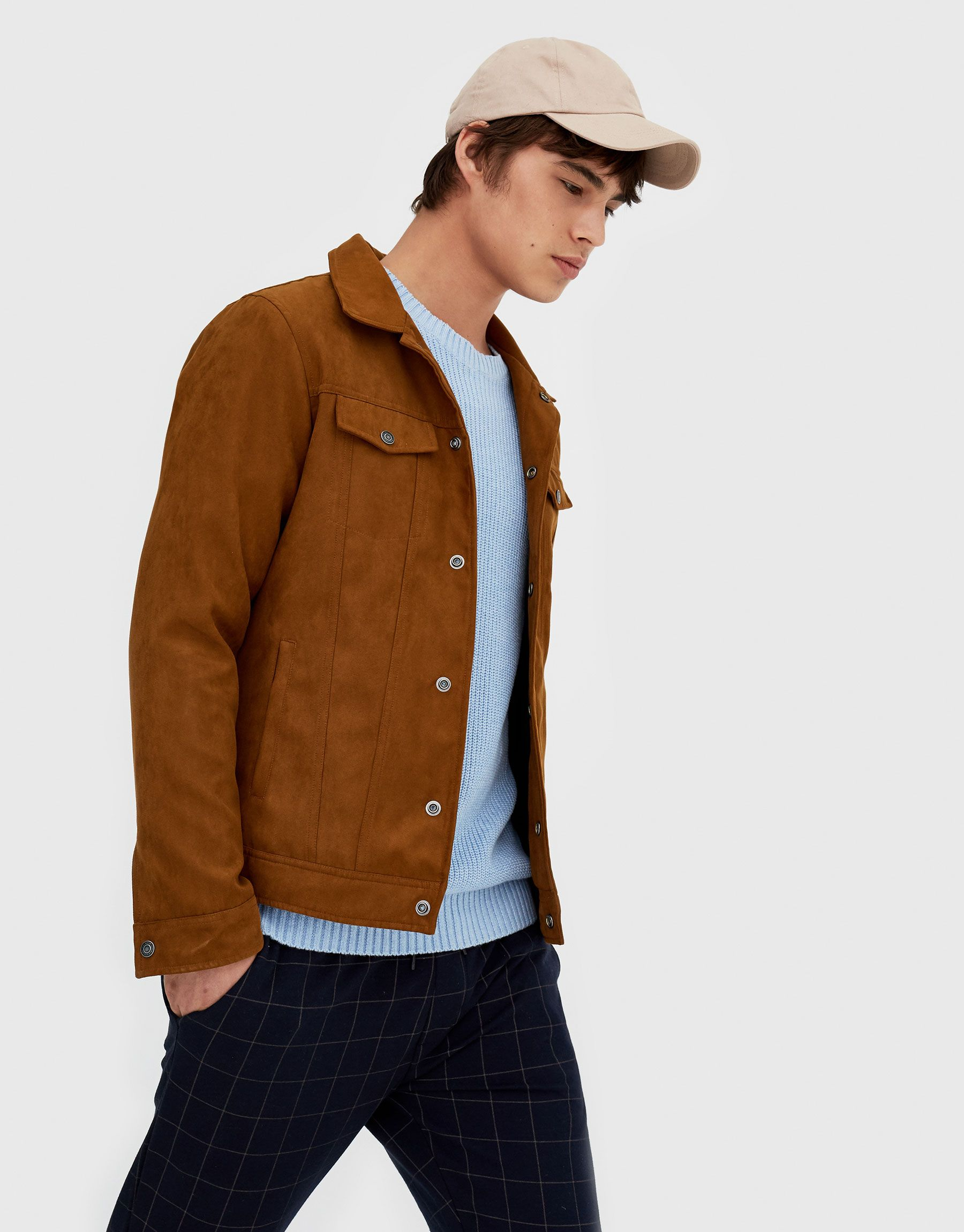 Pull Bear Man New Faux Suede Trucker Jacket Ochre 05711519 V2018 Mens Clothing Guide Mens Outfits Men Fashion Casual Outfits