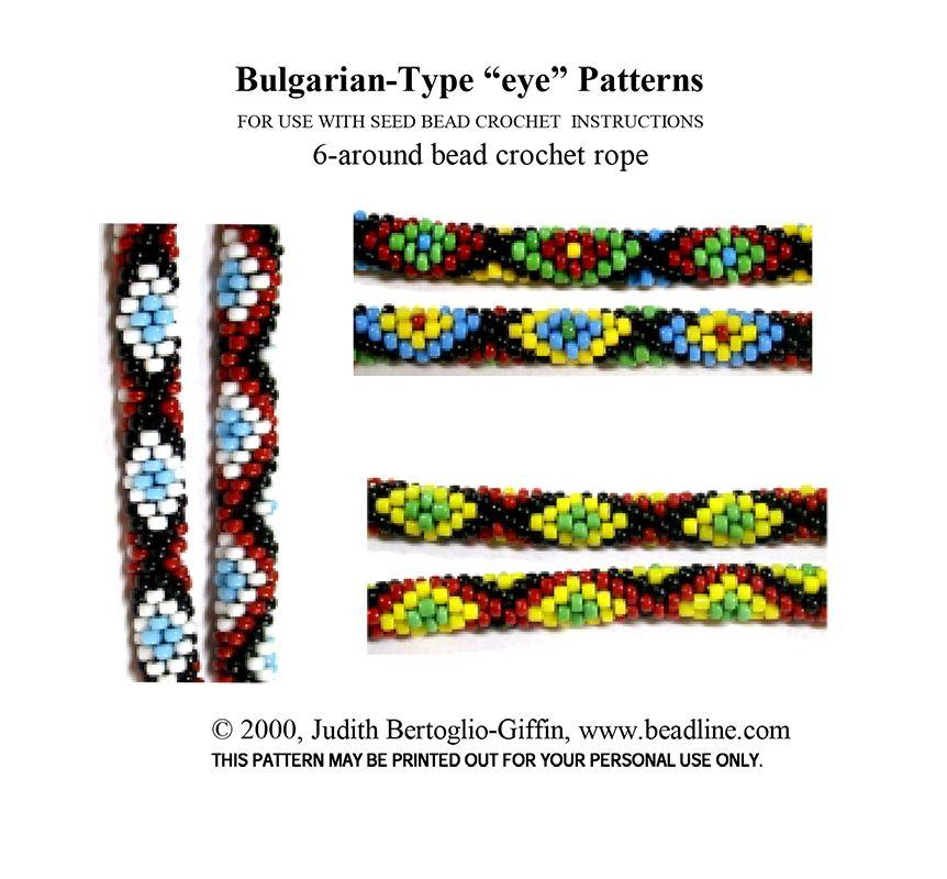 Bead Crochet Bulgarian-Type EYE Patterns | Bead-Patterns.com | Bead ...
