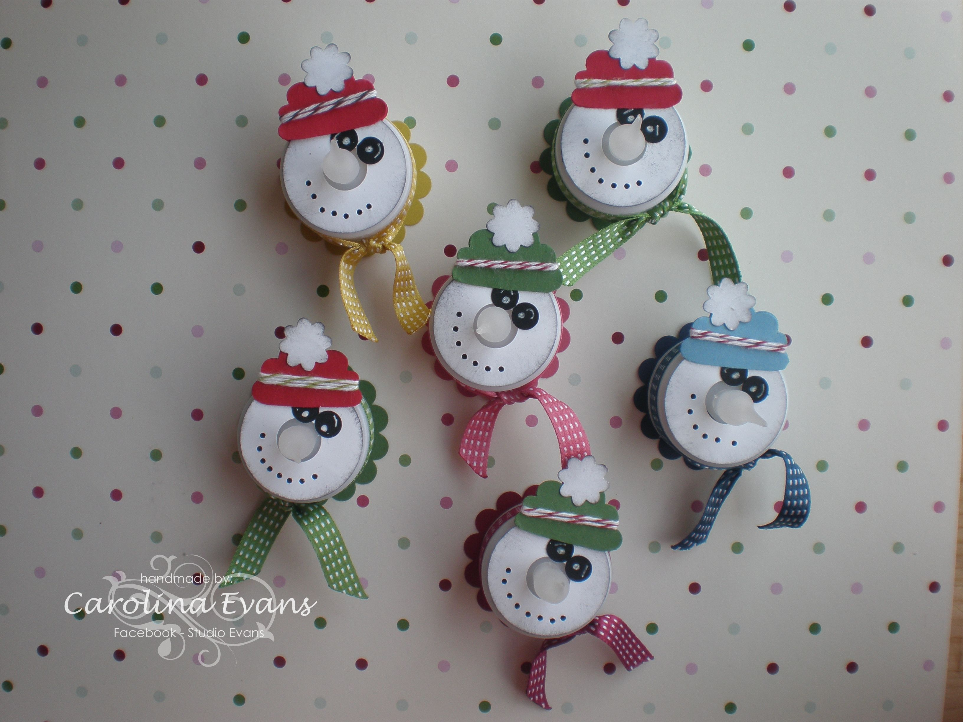 Christmas Snowmen Made With Led Tealights  Stampin' Up In Colour Collection