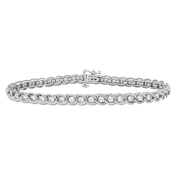 3 Ct Tw Diamond Tennis Bracelet In 10k White Gold Leather Gemstone Bracelets Tennis Bracelet Diamond Tennis Bracelet
