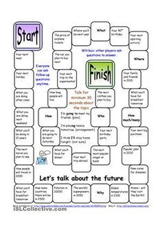 Board Game For Practising The Use Of Future Tenses Present Simple Going To Present Continuous For The Future Let Them Talk Board Games Printable Board Games