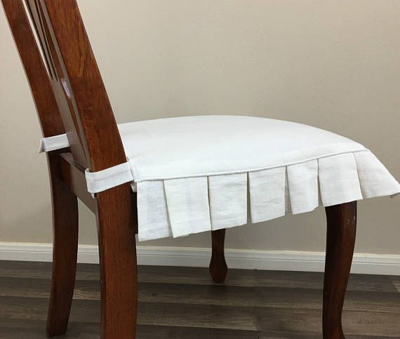 Linen Chair Seat Cover With Pleated