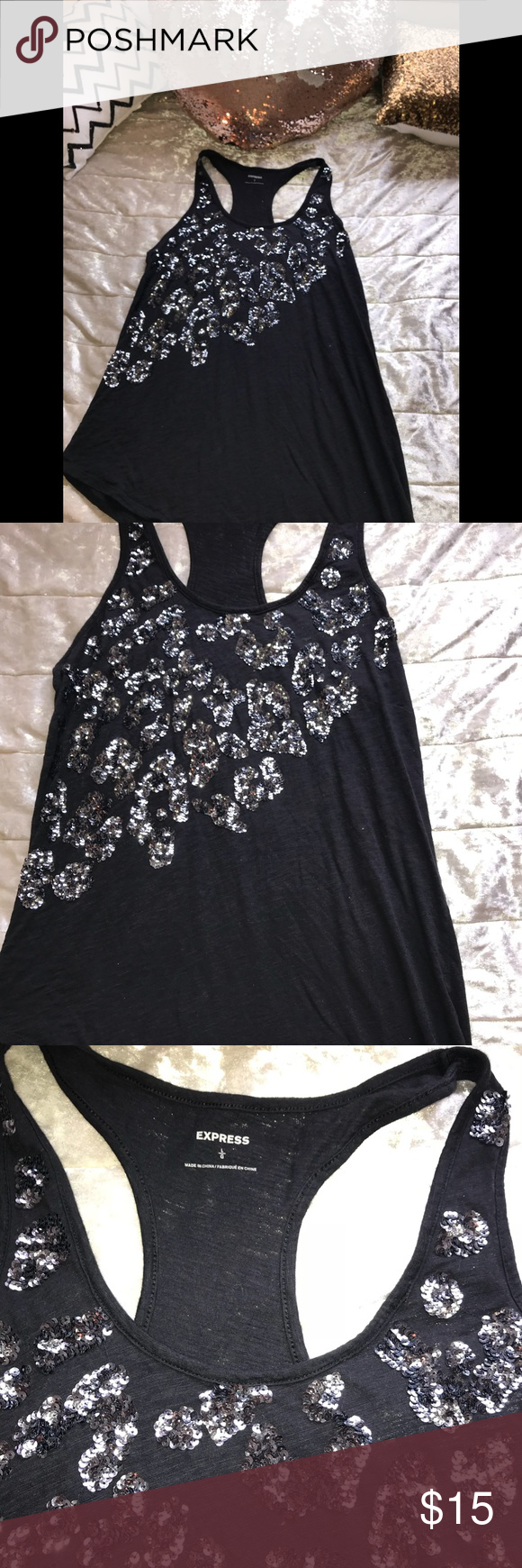 Asymmetrical tank my posh closet pinterest sequin shorts