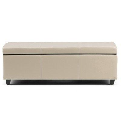 Swell Franklstorage Ottoman Bench Satcream Faux Leather Lamtechconsult Wood Chair Design Ideas Lamtechconsultcom