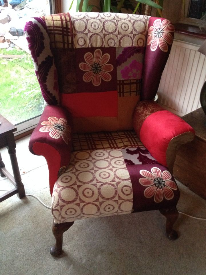 Here's my re-upholstered patchwork armchair -really pleased with it !