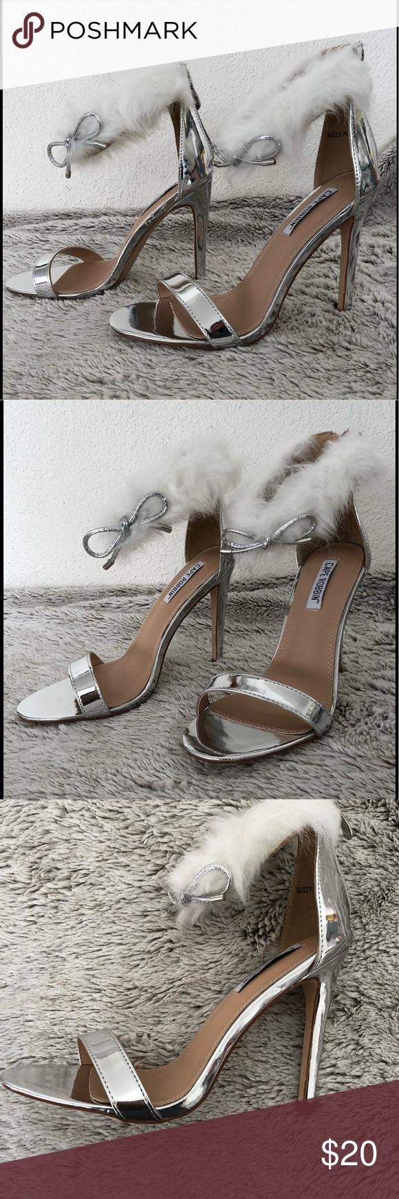5270609268d Silver open toe furry ankle strap heels Furry ankle strap stiletto heels.  Heels approx. 4 1 4. Shoes Heels  AnklestrapsHeels
