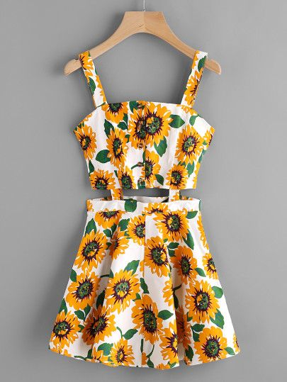 Sunflower Print Random Single Breasted Cut Out Dress  3a6717789417