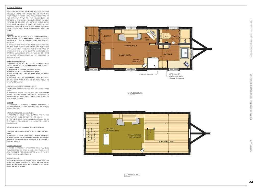 Free Tiny House Plans: 160 Sq. Ft. Rolling Bungalow | Tiny house ...
