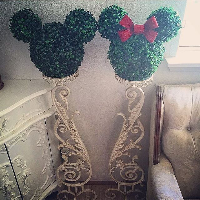 "Disney At Home on Instagram: ""Here is another magical photo of @kelseymichelle85's Disney home, the doorknob and these topiaries belong to her wonderland themed dinning…"" #disneykitchen"