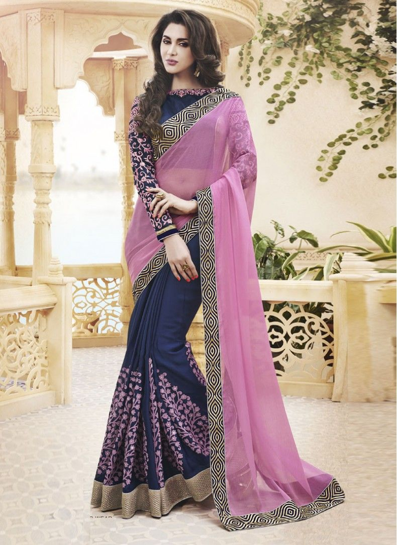 Silk saree lehenga enthralling navy blue and pink faux chiffon designer partywear saree