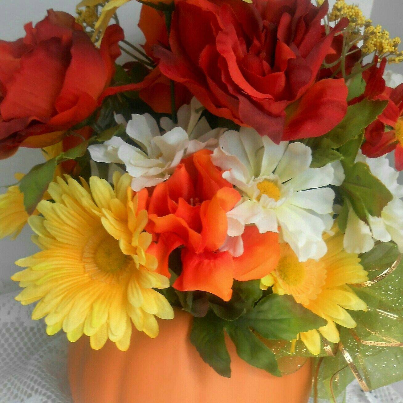 Beautiful Fall Flower Arrangement All Set In Ceramic Crock Pumpkin