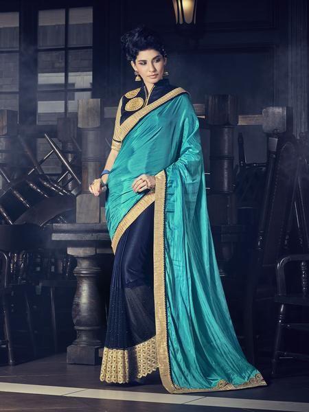 1486dad7a2d0 Navy Blue With Cyan Blue Fancy Fabric   Georgette Saris