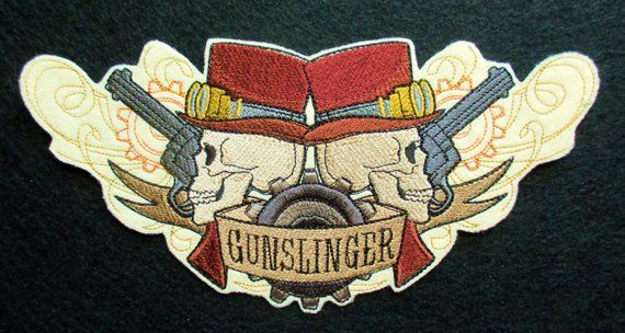 Embroidered western steampunk gunslinger applique patch iron on