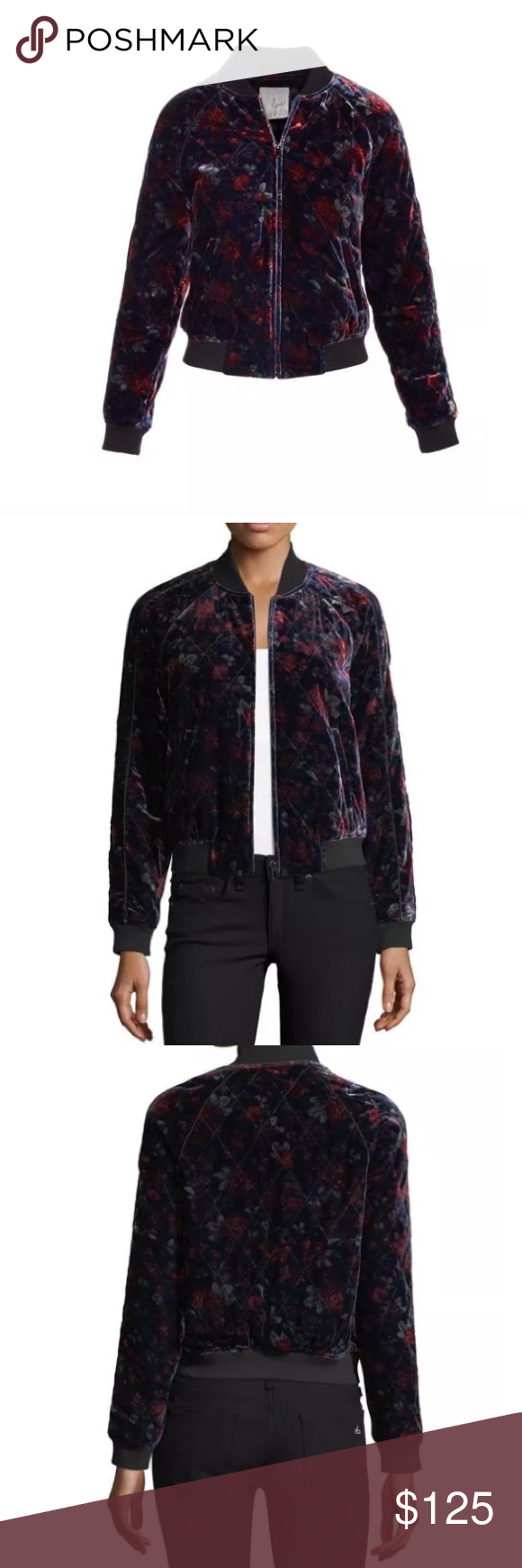 10dc35825fc Joie Mace Quilted Velvet Bomber Jacket Size XS Joie
