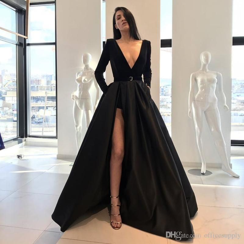 Black Evening Gowns 2018 A Line Long Sleeve Plunging V Neck High Side Split  Floor Length Prom Party Formal Pageant Dresses ed7c8b09f